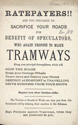 Political leaflet against proposed tramways